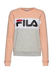 FILA Damen Sweatshirt Leah Crew Light Grey Melange / Salmon - White