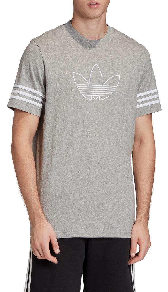 ADIDAS Herren T-Shirt Outline Tee Grey Melange / White