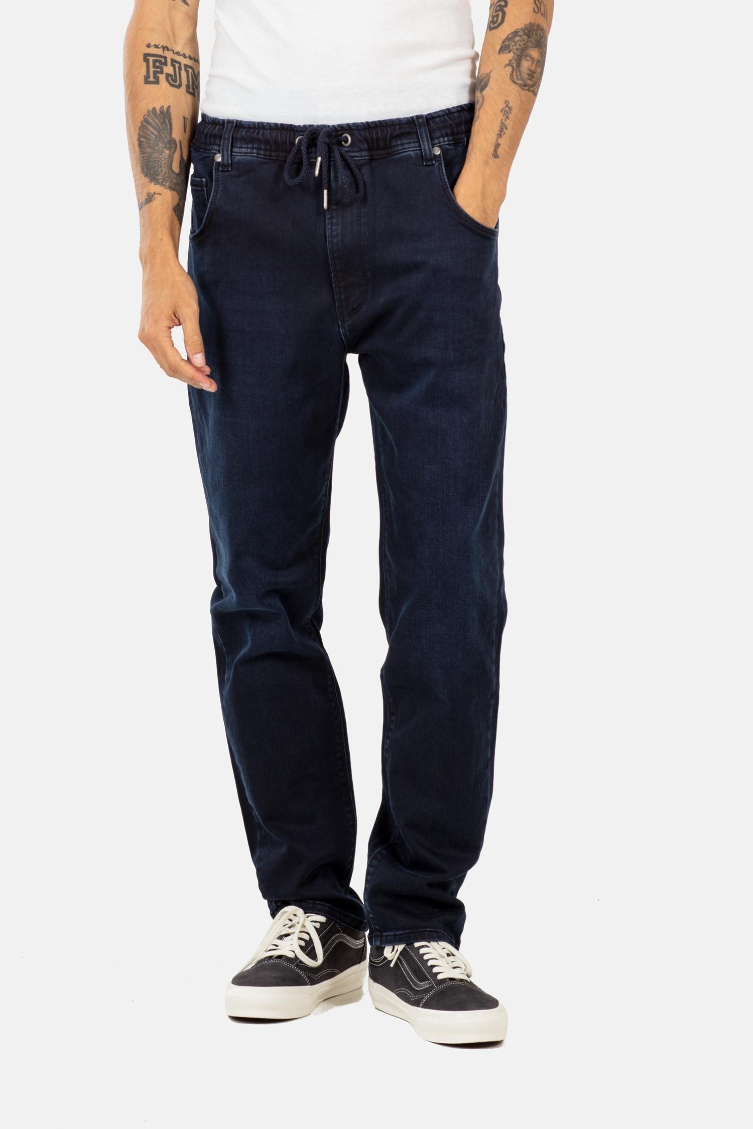 REELL Herren Hose Jogger Jeans Knitted Blue Black