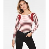 G-STAR Damen Longsleeve Zovas Slim Boatneck Milk / Burned Red Stripe