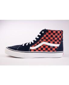 VANS Unisex Schuhe Sk8-Hi Pro (Checkerboard) Navy / Orange