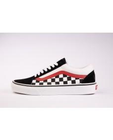 VANS Unisex Schuhe Old Skool (CHKRBRDSPLT) Black / Red / True White