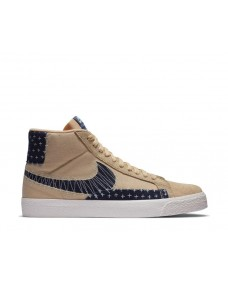 Nike SB Herren Schuhe Zoom Blazer Mid PRM Sesame / Mystic Navy - Sail