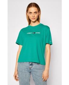 TOMMY HILFIGER Damen T-Shirt Modern Linear Logo Midwest Green