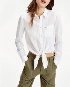 TOMMY HILFIGER Damen Shirt Front Knot Shirt White